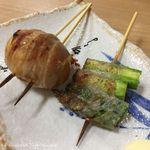 酒呑んで飯食って蛙之介 - 煮玉子(220円税別)、アスパラ(150円税別)