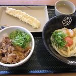 はなまるうどん - 料理写真:明太おろし醤油(小)+牛肉ごはん+いか天 300円+280円+110円
