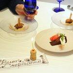 PRIMO - ガトーショコラとフランボワーズのソルベ、バナナのセミフレッドとチョコレートのジェラート