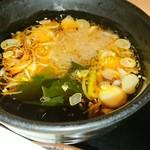 蕎麦たかね 日本橋茅場町店 - ネギ・ワカメ・大根おろしは一応    一つまみで!と添え書きがありました