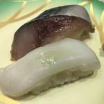 回転寿司 鮨市 - 手前から生ダコ→生鯖