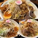 豚麺アジト - 子豚麺+ヤサイ、アブラ増しに得トッピング
