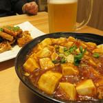 桂林米粉 山水家 - 晩酌セット1,280円。 お酒1杯+冷菜1品+温菜一品を選べます。