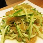 桂林米粉 山水家 - 胡瓜とクラゲ和え。