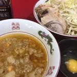 84283314 - 小(豚2枚)+つけ麺+生卵 ¥750+150+50
