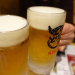 とりとり亭 - 生ビール(480円)で乾杯