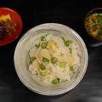東家 - うすい豆、小柱の炊き込み飯