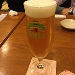84292020 - みかあさ ビールで乾杯!飲み干した後にエンジェルリングが出来ていたので、ビールの継ぎ方も上手!