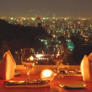 円山の高台から、街の灯を見下ろせる小さな一軒屋のレストラン!