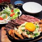 肉盛り&チーズカルビ鉄板定食