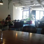 TRACTION book cafe - 店内は北欧風。観葉植物も多くて自然派好みでしょうか。