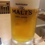 大衆海鮮居酒屋 おっ魚 - 生ビールはモルツ通常390円が半額♪