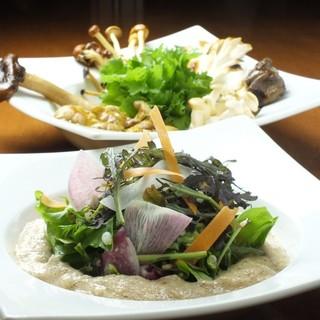 国産大豆ミート、自然薯料理&信州産色々な木の子
