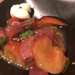 鮪専門店 MEGRO - 鮪トマトモッツァレラ680円