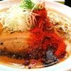 辛口炙り肉ソバ ひるドラ - 料理写真:辛口炙り肉ソバ・味噌 850円 生卵 50円