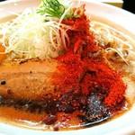 辛口炙り肉ソバ ひるドラ 鶴橋店 - 辛口炙り肉ソバ・味噌 850円 生卵 50円