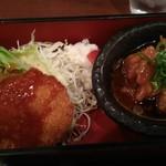 84364727 - クリームコロッケ、鶏の甘酢餡掛け