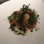 カンブーザ - 鮮魚のカルパッチョ、サルデーニャ産ボッタルガ添え