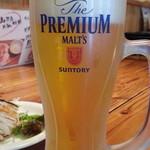 立川ホルモン - 生ビールはプレミアムモルツ500円