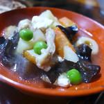 民宿ふじや - 舘岩の郷土料理「ことじ」。若松ではこづゆ、田島ではつゆじ。