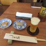 こねり庵 - 料理写真:ビール・蕎麦豆腐・蕎麦チップス