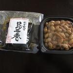 青木煮豆店 - 昆布巻とえび豆を購入