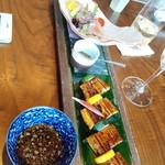 蒼天 - 鰻蒲焼き/白身魚のそばカルパッチョ