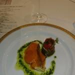 ホテルオークラ東京 - 学士会館・みやび鯛のポワレ アメリカンソース 熊本産長なすとプチトマトのロティー添え