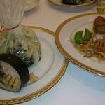 ホテルオークラ東京 - 新ばし しみづ・天草の食材を使った太巻き       HAL YAMASHITA 東京・HALの桜鯛 山芋木の芽蒸し 焼き筍添       メトロポリタン・リエットとプチトマトのタルト 永田ごぼうとスナップえんどうのサラダ添
