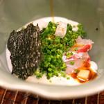 84457600 - 桜鯛の鯛の白子がけ