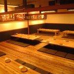 向日葵 - 最大で60名様まで可能な宴会個室です。仕切りを入れて、10名様からでもご利用いただけます。
