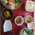 84465666 - 生ウニ丼 小鉢 お味噌汁 豆腐 茶碗蒸し 付き♪