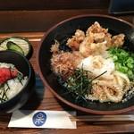 釜あげ饂飩 楽 - 鶏天ぶっかけ定食