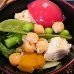 かいせき あづま路 - ササミと旬野菜のサラダ。