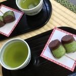 福太郎本舗 - 福太郎餅とお茶のセット