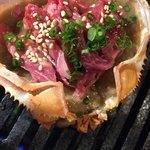 石垣島焼肉魚介 おりじん - 牛ロース蟹味噌甲羅焼き