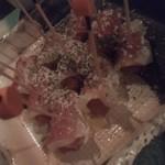 パラダイスキッチン - 生ハム、スモークチーズ、たくあんのピンチョス 480円