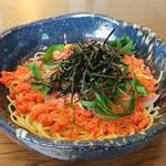 気楽な器 - 明太子と山菜と青じそのスパゲティです