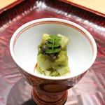 豪龍久保 - 筍と雁木椎茸と粟麩の木芽味噌和え