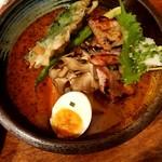84548802 - 厚切り豚ロースの西京味噌焼きと春野菜のスープカレー
