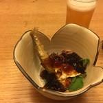 しらと菜園 - 料理写真:黒酢のジュレでムシャムシャ なんだろう 人生初でお目にかかる野菜が居る