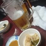 酒蔵 かっぱ - お通しとビール