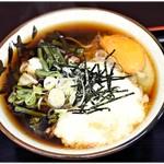 おそば天かめ - とろそそば+山菜+生玉子 390+120+50円 すべすべ生蕎麦!
