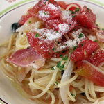 トラットリア ラ・ルーチェ - 加村園芸産 生トマトとベーコンの冷製スパゲッティ。<2011_06>