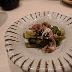 鮨みやもと - 山葵菜 削り立ての鰹節が合います