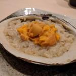 鮨みやもと - ホッキ貝のリゾット シャリとバターとウニが合います