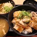 松屋 - 料理写真:ごろごろチキンのてりたま丼とミニカレーうどん