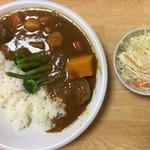 カフェ デ カリー - 野菜たっぷりカレー(セット800円)。チキンとの違いはシイタケ。