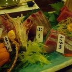 山葵 - 刺身にはそれぞれ名札がついています♪