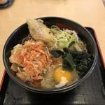 名代 箱根そば - 料理写真:桜海老のミニかき揚げと甘鯛天+玉子